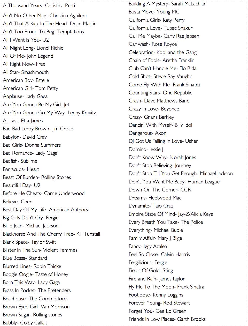 Long songs list