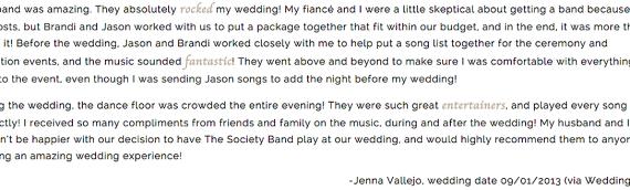 -Jenna Vallejo, wedding date 09/01/2013 (via WeddingWire)